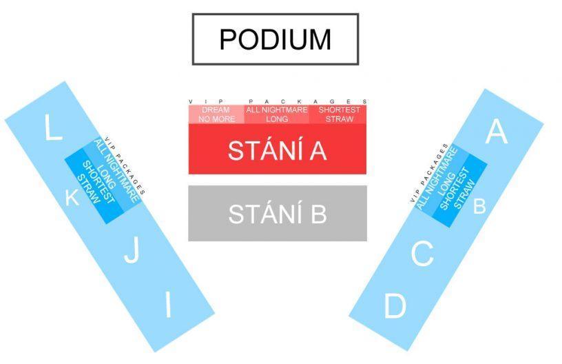 Схема фан-зоны, танцпола и трибун на концерте Metallica в Праге