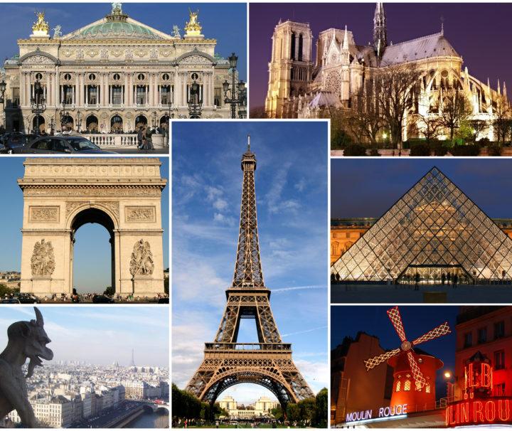 Париж коллаж достопримечательностей